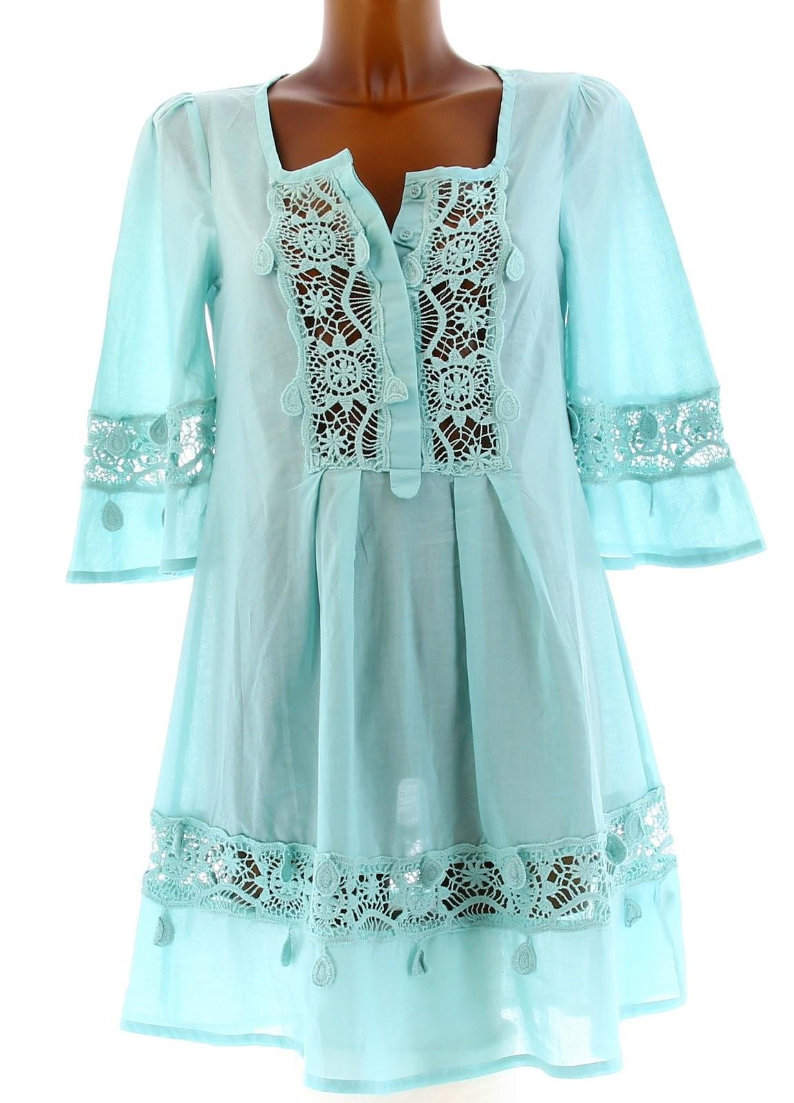 Robe tunique chemise dentelle ample boh me hippie sun - Robe hippie chic dentelle ...