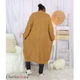 Gilet long MAGGY camel hiver femme grandes tailles Gilet long femme