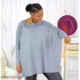 Pull poncho KYLI gris dentelle femme grandes tailles Pull femme grande taille