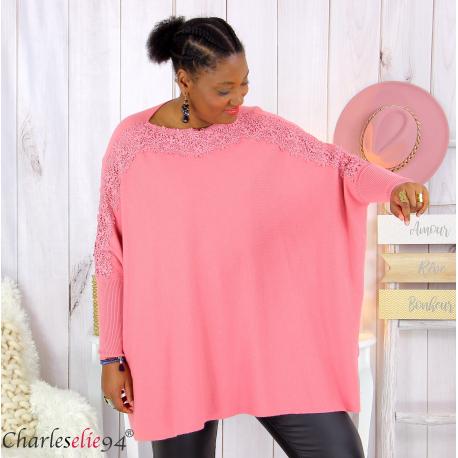 Pull poncho KYLI rose dentelle femme grandes tailles Pull femme grande taille