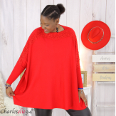 Pull poncho KYLI rouge dentelle femme grandes tailles Pull femme grande taille