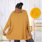Pull poncho KYLI camel dentelle femme grandes tailles Pull femme grande taille