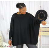 Pull poncho KYLI noir dentelle femme grandes tailles Pull femme grande taille