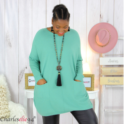 Pull long poches ALIZE amande femme grandes tailles Pull femme grande taille