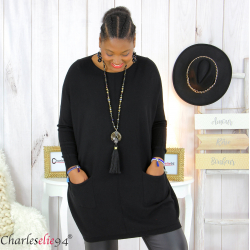 Pull long poches ALIZE noir femme grandes tailles Pull femme grande taille
