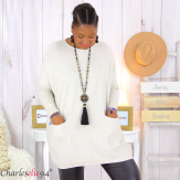 Pull long poches ALIZE beige femme grandes tailles Pull femme grande taille
