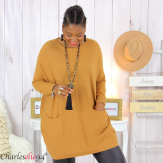 Pull long poches ALIZE camel femme grandes tailles Pull femme grande taille