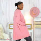Pull long poches ALIZE rose femme grandes tailles Pull femme grande taille