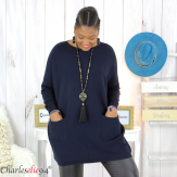 Pull long poches ALIZE bleu marine femme grandes tailles Pull femme grande taille