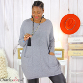 Pull long poches ALIZE gris femme grandes tailles Pull femme grande taille
