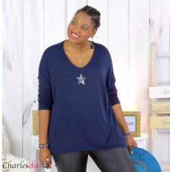 Pull femme grande taille lycra doux étoile IRIS bleu marine Pull femme grande taille