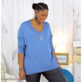 Pull femme grande taille lycra doux étoile IRIS bleu jean Pull femme grande taille
