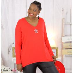 Pull femme grande taille lycra doux étoile IRIS rouge Pull femme grande taille