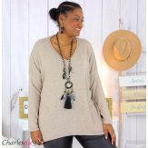 Pull femme grandes tailles maille lycra doux ZAZA taupe Pull femme grande taille