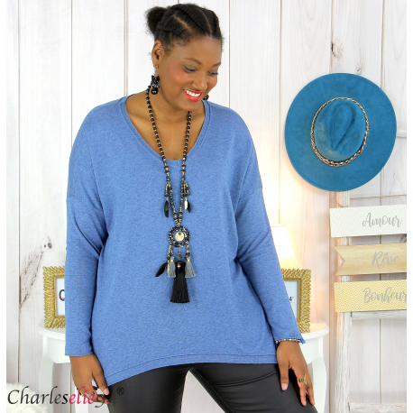 Pull femme grandes tailles maille lycra doux ZAZA bleu jean Pull femme grande taille