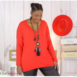Pull femme grandes tailles maille lycra doux ZAZA rouge Pull femme grande taille
