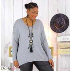 Pull femme grandes tailles maille lycra doux ZAZA gris Pull femme grande taille