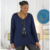 Pull femme grandes tailles maille lycra doux ZAZA bleu marine Pull femme grande taille