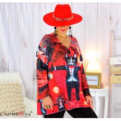 Pull tunique maille imprimé femme grandes tailles WILLO M90 Pull tunique femme