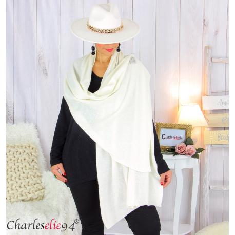Maxi étole cachemire laine femme grande taille HARI écru Accessoires mode femme