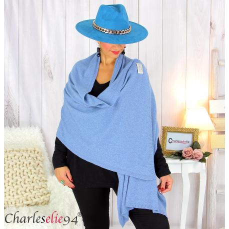 Maxi étole cachemire laine femme grande taille HARI bleu jean Accessoires mode femme