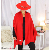 Maxi étole cachemire laine femme grande taille HARI rouge Accessoires mode femme