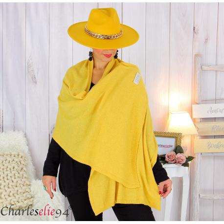 Maxi étole cachemire laine femme grande taille HARI jaune Accessoires mode femme