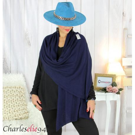Maxi étole cachemire laine femme grande taille HARI bleu marine Accessoires mode femme