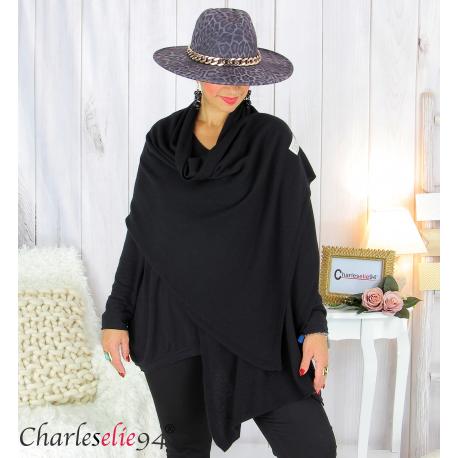 Maxi étole cachemire laine femme grande taille HARI noire Accessoires mode femme