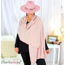 Maxi étole cachemire laine femme grande taille HARI rose Accessoires mode femme