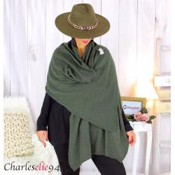 Maxi étole cachemire laine femme grande taille HARI kaki Accessoires mode femme
