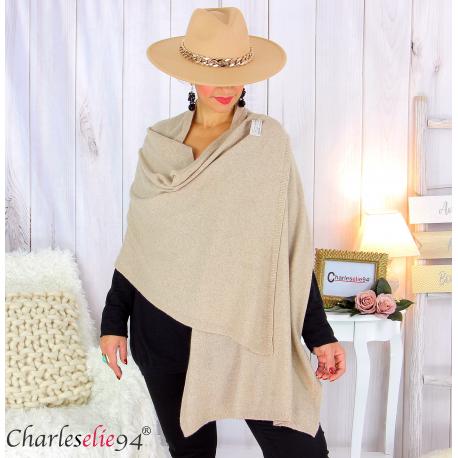 Maxi étole cachemire laine femme grande taille HARI taupe Accessoires mode femme