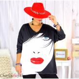 Pull tunique maille imprimé femme grandes tailles WILLO M93 Pull tunique femme