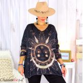 Pull tunique maille imprimé femme grandes tailles WILLO M94 Pull tunique femme