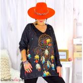Pull tunique maille imprimé femme grandes tailles WILLO M95 Pull tunique femme