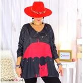 Pull tunique maille imprimé femme grandes tailles WILLO M96 Pull tunique femme
