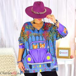 Pull tunique maille imprimé femme grandes tailles WILLO M98 Pull tunique femme