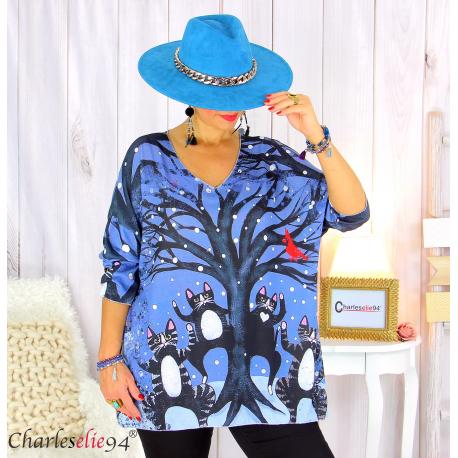 Pull tunique maille imprimé femme grandes tailles WILLO M99 Pull tunique femme
