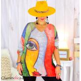 Pull tunique maille imprimé femme grandes tailles WILLO M100 Pull tunique femme