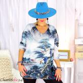 Pull tunique maille imprimé femme grandes tailles WILLO M103 Pull tunique femme