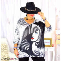 Pull tunique maille imprimé femme grandes tailles WILLO M104 Pull tunique femme