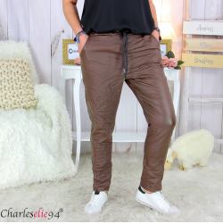 Pantalon simili cuir stretch femme grandes tailles NEMO marron Pantalon femme grande taille