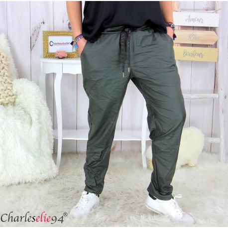 Pantalon simili cuir stretch femme grandes tailles NEMO kaki Pantalon femme grande taille