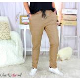 Pantalon simili cuir stretch femme grandes tailles NEMO camel Pantalon femme grande taille
