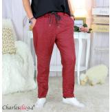 Pantalon simili cuir stretch femme grandes tailles NEMO bordeaux Pantalon femme grande taille