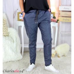 Pantalon simili cuir stretch femme grandes tailles NEMO bleu marine Pantalon femme grande taille