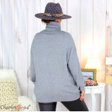 Pull doux col roulé femme grandes tailles ARENA gris Pull femme grande taille