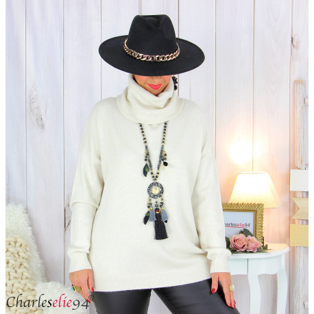 Pull doux col roulé femme grandes tailles ARENA beige Pull femme grande taille