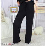 Pantalon large maille tricot stretch hiver femme ARENA noir Pantalon large femme