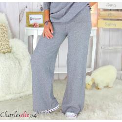 Pantalon large maille tricot stretch hiver femme ARENA gris Pantalon large femme